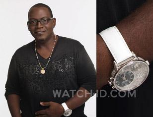 Randy Jackson wearing a Curtis & Co. Big Time Air Diamond Set with white leather