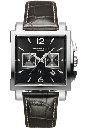 Hamilton Jazzmaster Square Chronograph with black dial, model number H32666535