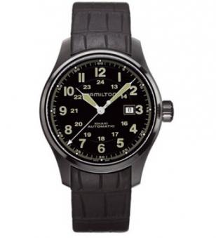 Hamilton Khaki Field Automatic with black case, black dial and black rubber stra