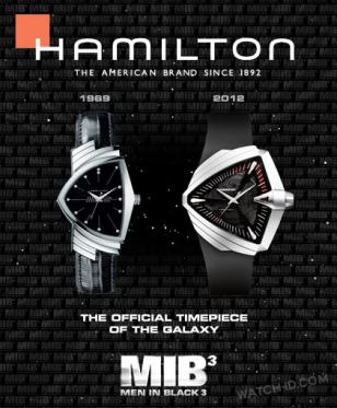 Hamilton promotion for the Ventura watches in MIB3 showing a classic and modern