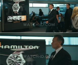 In the movie, an advertisement showing the Hamilton Khaki Pilot 46mm can clearly