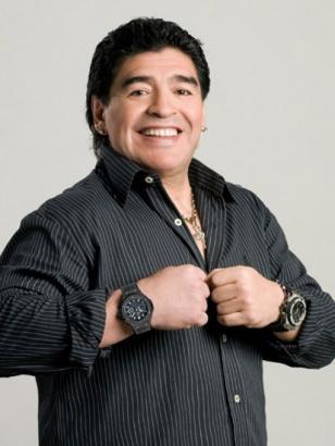 Promotional photo of Maradona wearing a Maradona Big Bang and another Big Bang
