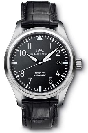 IWC Pilot Mark XVI reference IW325501 in stainless steel with black crocodile l