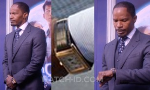 Jamie Foxx wears a gold Jaeger-LeCoultre Grande Reverso in Annie
