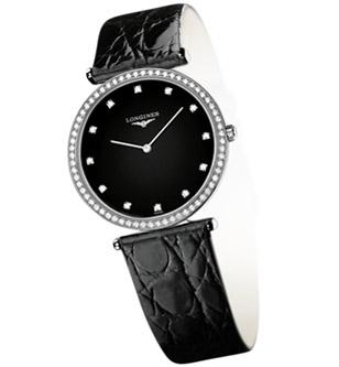 La Grande Classique de Longines with black dial and black strap