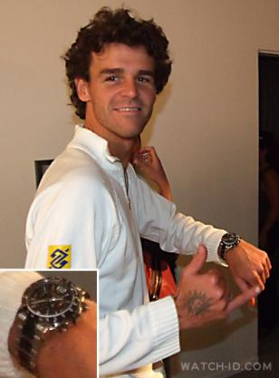 Gustavo Kuerten proudly showing off the Longines Admiral watch he just received