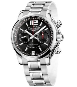 Longines Admiral L3.666.4.56.6, black dial, steel bracelet