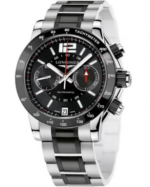 Longines Admiral L3.667.4.56.7, steel with ceramic bezel, black dial, stainless
