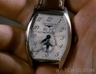 Close up of the Longines Evidenza in a later scene of the movie, the glass is br