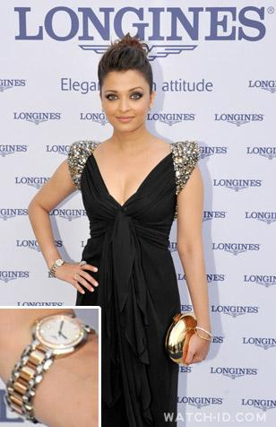 Aishwarya Rai wearing her Longines PrimaLuna at the Longines charity dinner in P