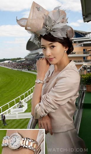 Chi Ling Lin wearing a Longines PrimaLuna during the Royal Ascot week