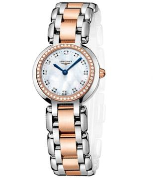Longines PrimaLuna L8.109.5.89.6, rose gold bezel with 48 diamonds and white mot