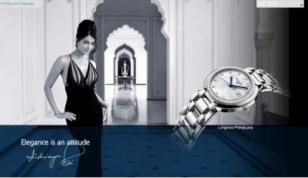 Advertisement featuring Aishwarya Rai Bachchan, as brand ambassador for Longines