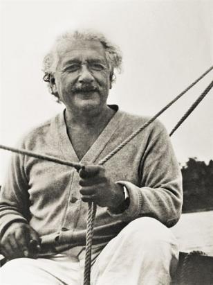Albert Einstein, with the Longines watch on his wrist