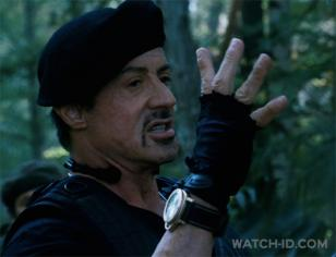 Sylvester Stallone wearing a Panerai in The Expendables 2