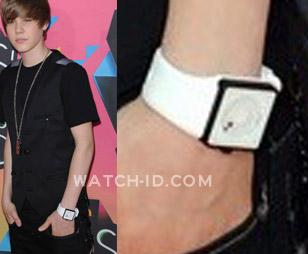 Justin Bieber wearing a white Nixon The Newton watch