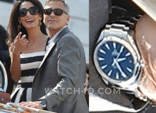 George Clooney wears an Omega Seamaster Aqua Terra watch during the wedding celebrations in Venice
