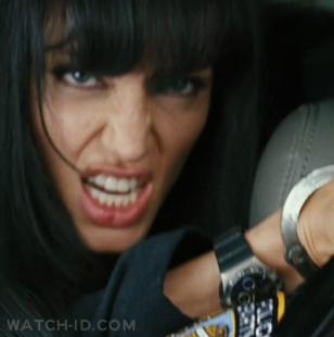 Angelina Jolie wearing an Omega Constellation Double Eagle in the movie SALT