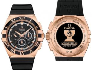Omega Constellation Double Eagle Chrono, red gold on rubber strap, modelnumber 1
