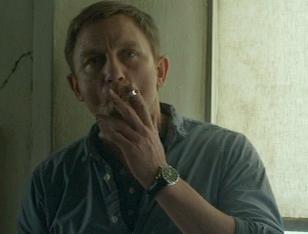 Daniel Craig, as Mikael Blomkvist, wears an Omega Aqua Terra watch in the movie