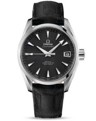 Omega Seamaster Aqua Terra Chronometer in stainless steel with a black leather s