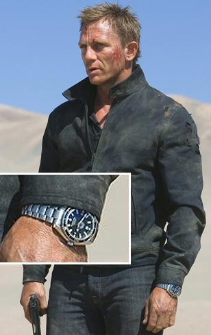 Daniel Craig, as James Bond, wearing the Seamaster Planet Ocean in Quantum of So