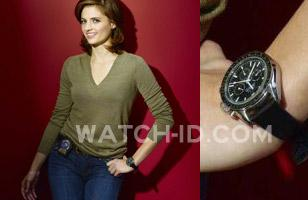 Stana Katic wears an Omega Speedmaster Professional in a promotional photo for t