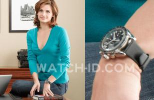 Stana Katic wears an Omega Speedmaster Professional in a promotional photo for s