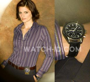 Stana Katic wears an Omega Speedmaster Professional in a promo photo for season