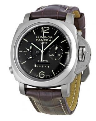 Panerai Luminor 1950 8 Days Chrono Monopulsante GMT with black dial, brown leath