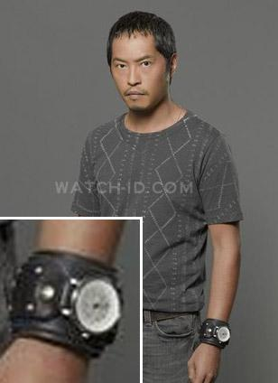 Ken Leung wearing the Red Monkey Armada GT watch in a promotional shoot for the