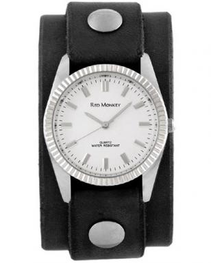Red Monkey Men's Classic watch with Black leather strap and white dial