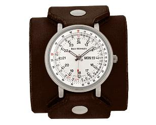 """Red Monkey GT with white face, wide 2-5/8"""" Chocolate Leather band"""