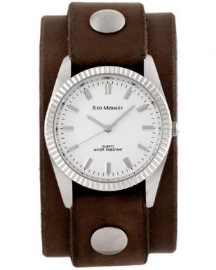 Red Monkey Men's Classic watch with Walnut leather strap and white dial