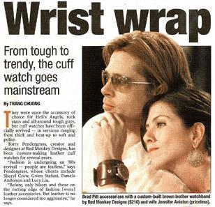 "Brad Pitt wearing a custom made 2-5/8"" Red Monkey watch band, when he was still"
