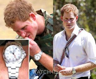 Prince Harry wearing a Rolex Esplorer II watch