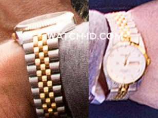 The watch looks like a two-tone gold Rolex Oyster Perpetual Day Date