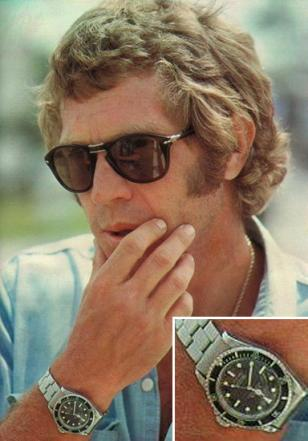 Steve McQueen with his Rolex Submariner 5512, and wearing Persol 714 folding sun