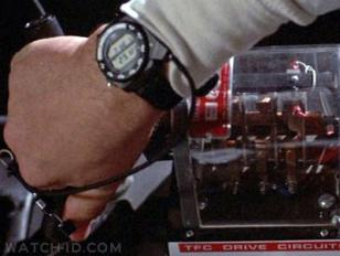 Close-up of the Seiko A826 Training Timer watch in Back to the Future