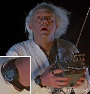Christopher Lloyd wearing the Seiko A826 Training Timer watch in Back to the Fut