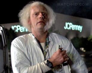 Doc Brown (Christopher Lloyd) with the Seiko A826 Training Timer watch