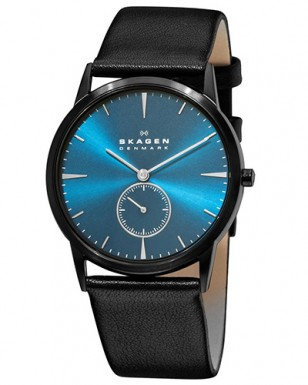 Skagen 958XLBLN black ion plated case with blue dial and black leather strap