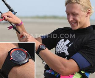Russian kiteboarder Peter Tyushkevich wears a Suunto Core Extreme Edition Red