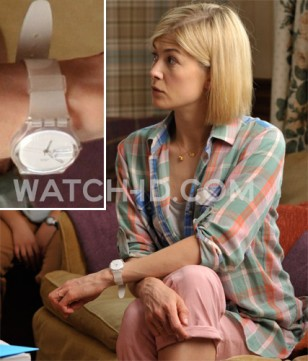 Rosamund Pike wears a Swatch Snowcovered GK733 watch in What We Did on Our Holiday.