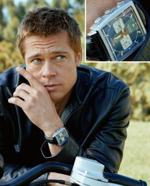 Brad Pitt wearing the TAG Heuer Monaco on a promotional photo