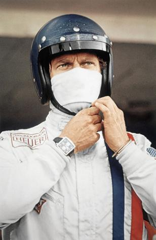 Steve McQueen wearing the Heuer Monaco in the movie Le Mans
