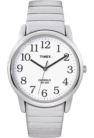 Timex Easy Reader, indiglo night-light, steel expansion band
