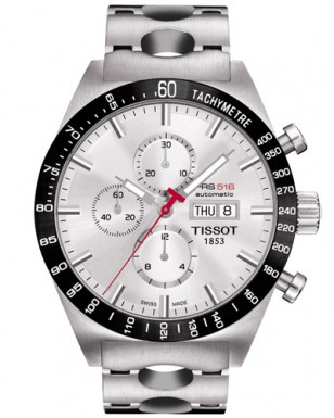 Tissot PRS 516 Automatic Chrono Men's Silver Dial Watch with Stainless Steel Bracelet