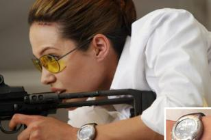 Angelina Jolie wearing a T-Touch watch with dark strap and dark dial in the movi