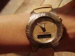 Close-up of Angelina's Tissot T-Touch watch in the movie Mr. & Mrs. Smith